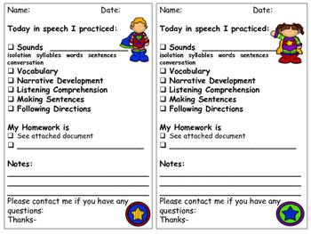 Super Hero Speech and Language Parent Communication Sheets