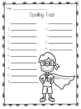Super Hero Spelling Printables for any list!