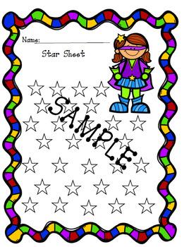 Super Hero Star Sheet Behavior Tracker