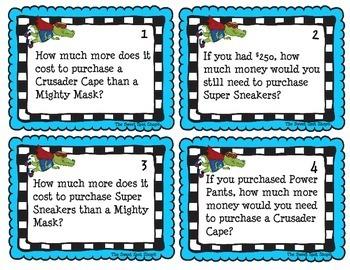 Super Hero Store 3 Digit Subtraction Center