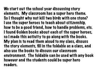 Super Hero Story Elements Foldable