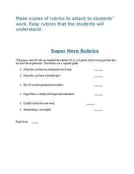 Super Hero Story Lesson Plan