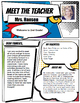 Super Hero Style Teacher Introduction Letter Template
