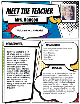 Super Hero Style Teacher Introduction Letter Template by EduStudio