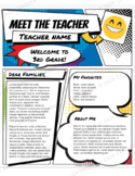 Super Hero Style Teacher Introduction Letter Template - GO