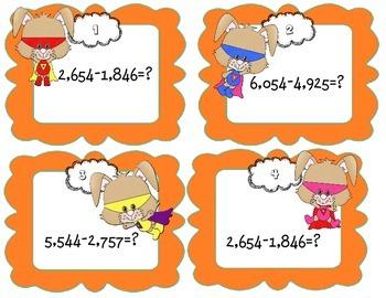 Super Hero Subtraction 3 to 5 Digit Numbers