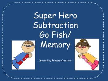 Super Hero Subtraction Go Fish/ Memory