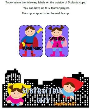 Super Hero Subtraction Sticks