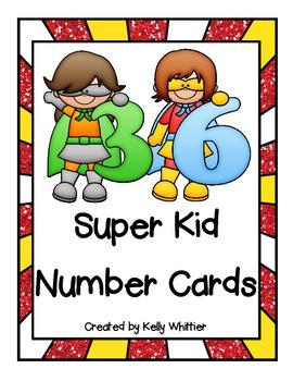 Super Hero / Super Kid Number Cards - 36!