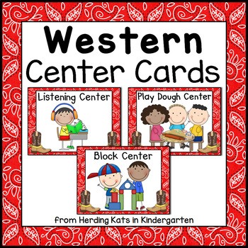 Western Cowboy Themed Pocket Chart Center Cards