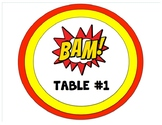 Super Hero Table Signs