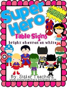Super Hero Table Signs *bright chevron on white*