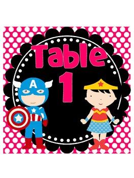 Super Hero Table Signs *polka dots*