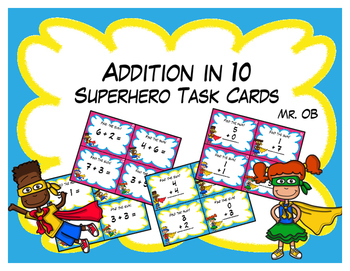 Super Hero Addition in 10 Task Cards