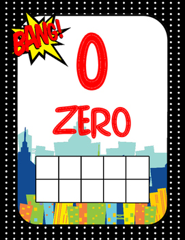 Super Hero Ten Frames 0-20 Colorful