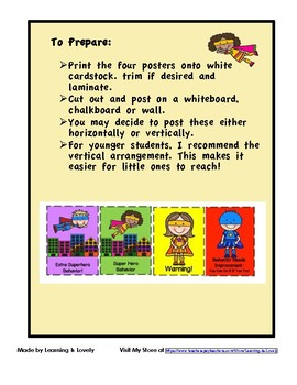 Super Hero Theme Behavior Charts
