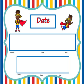 Super Hero Theme Calendar Set
