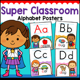 Superhero Theme Classroom Decor Alphabet ABC Posters