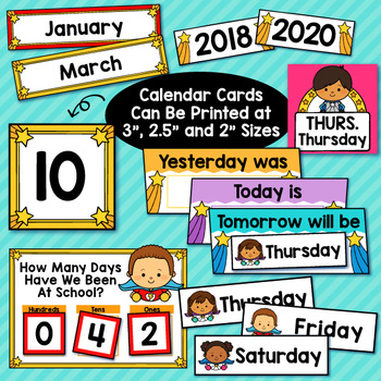 Superhero Theme Classroom Decor Calendar