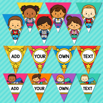 Superhero Theme Classroom Decor Editable Banner