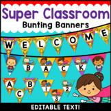Superhero Theme Classroom Decor Editable Banner