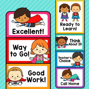 Superhero Theme Classroom Decor Editable Behavior Clip Chart