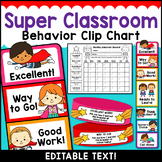 Superhero Theme Classroom Decor Editable Behavior Clip Chart