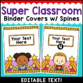 Superhero Theme Classroom Decor Editable Binder Covers {A}