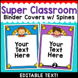 Superhero Theme Classroom Decor Editable Binder Covers {B}