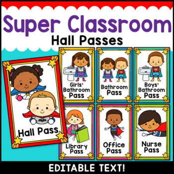 Superhero Theme Classroom Decor Editable Hall Passes