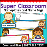 Superhero Theme Classroom Decor Editable Nameplates and Name Tags