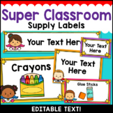 Superhero Theme Classroom Decor Editable Supply Labels