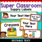 Superhero Theme Classroom Decor Editable Supply Labels