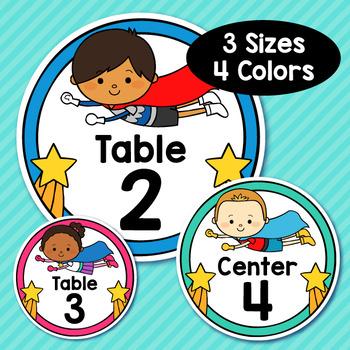 Superhero Theme Classroom Decor Editable Table Numbers
