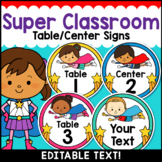 Superhero Theme Classroom Decor Editable Table Numbers