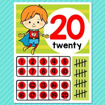 Superhero Theme Classroom Decor Number Posters