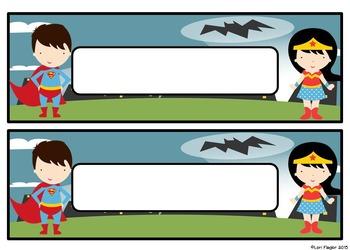 Super Hero Theme Desk Tags- Editable