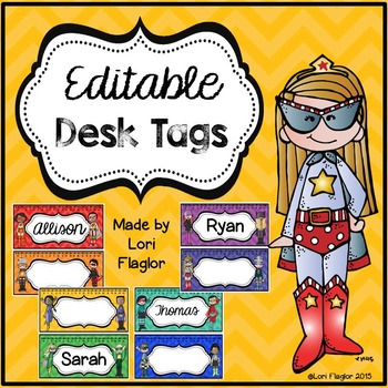 Super Hero Theme Desk Tags- Editable