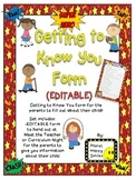 Getting to Know You Form (EDITABLE) ~ Super Hero Theme