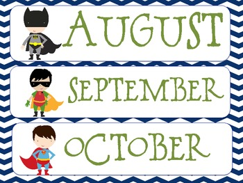Super Hero Theme Months Teal and Navy Theme