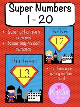 Super Hero Theme Number Cards 1 - 20