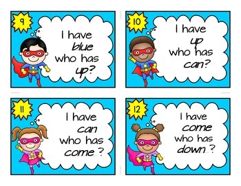 UPDATED Super Hero Theme Pre-Primer Dolch Sight Word Game, I Have Who Has FREE