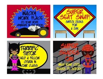 Super Hero Theme Reward Coupons ~ 16 Rewards that cost NO Money!