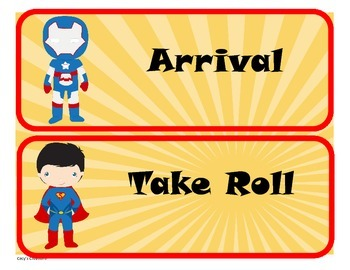 Super Hero Theme Schedule Cards