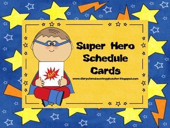 Super Hero Theme Schedule Cards FREEBIE
