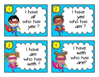 Primer Dolch Sight Word Cards, Super hero theme  I Have Who Has  Center Game