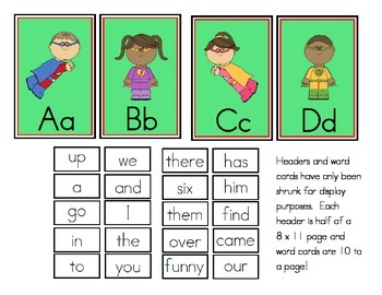 Super Hero Theme Word Wall Headers and Sight Words