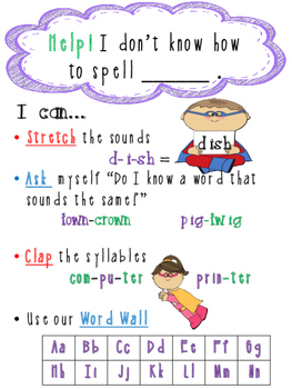 Super Hero Theme Writing_ Spelling Poster