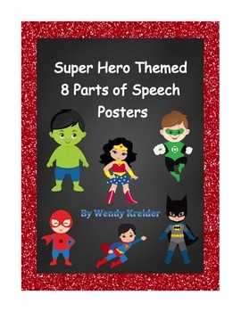 Super Hero Themed 8 Parts of Speech Posters