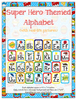 Super Hero Themed ABC Cursive Printable (with corresponding pictures)